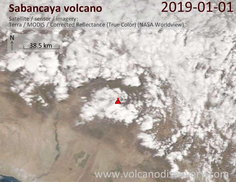 Satellite image of Sabancaya volcano on  1 Jan 2019