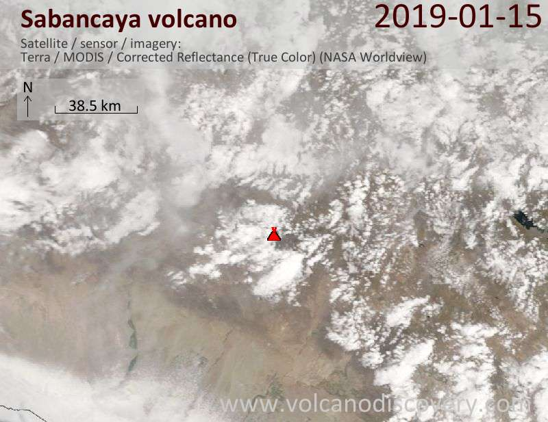 Satellite image of Sabancaya volcano on 15 Jan 2019