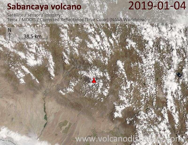 Satellite image of Sabancaya volcano on  4 Jan 2019