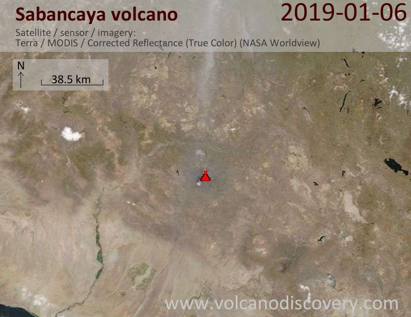 Satellitenbild des Sabancaya Vulkans am  6 Jan 2019