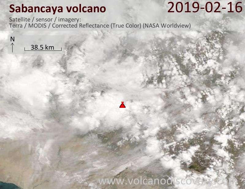 Satellite image of Sabancaya volcano on 16 Feb 2019