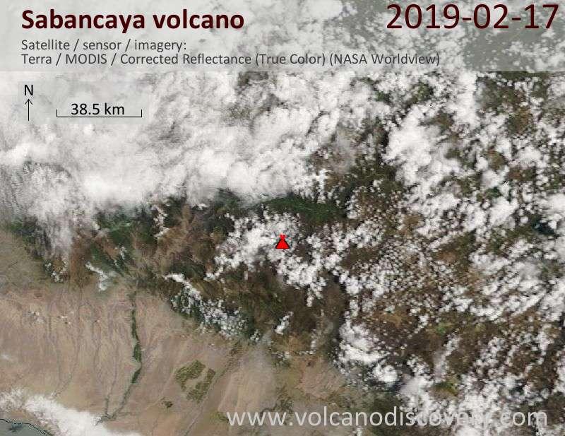 Спутниковое изображение вулкана Sabancaya 17 Feb 2019