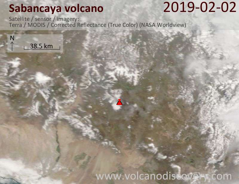Satellite image of Sabancaya volcano on  2 Feb 2019