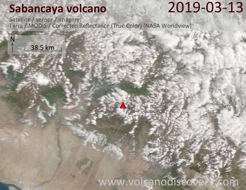 Satellite image of Sabancaya volcano on 13 Mar 2019