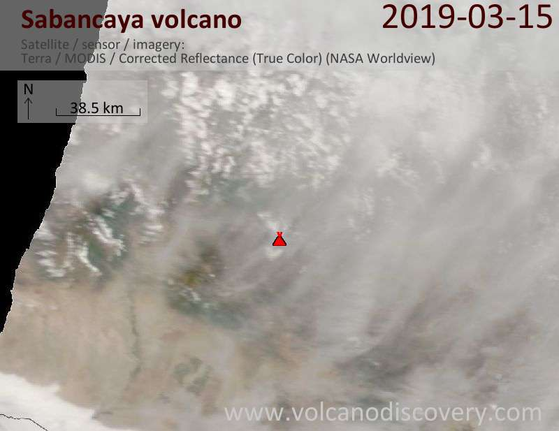 Satellite image of Sabancaya volcano on 15 Mar 2019