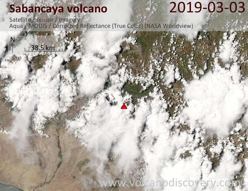 Satellite image of Sabancaya volcano on  4 Mar 2019