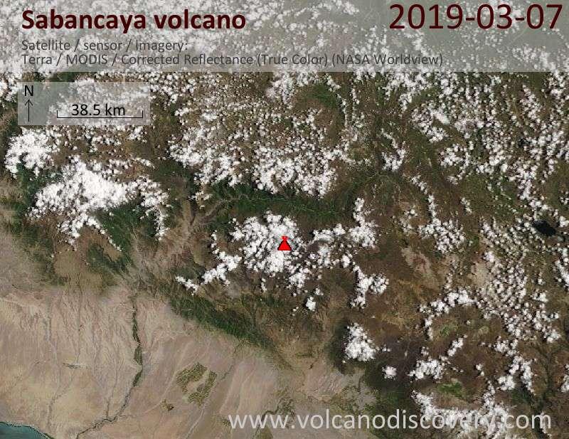 Satellite image of Sabancaya volcano on  7 Mar 2019