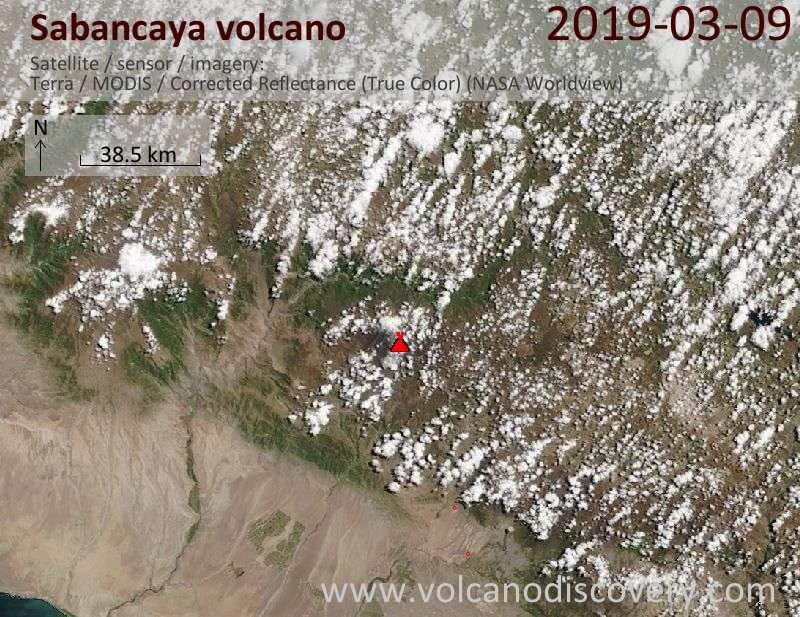 Satellite image of Sabancaya volcano on  9 Mar 2019