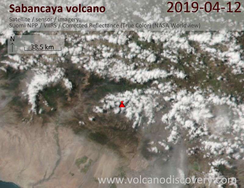 Satellite image of Sabancaya volcano on 13 Apr 2019