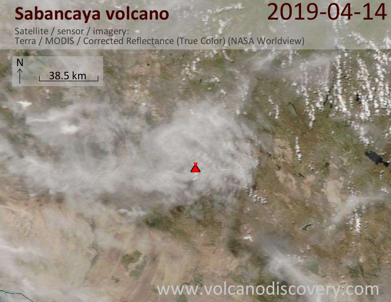 Satellite image of Sabancaya volcano on 14 Apr 2019