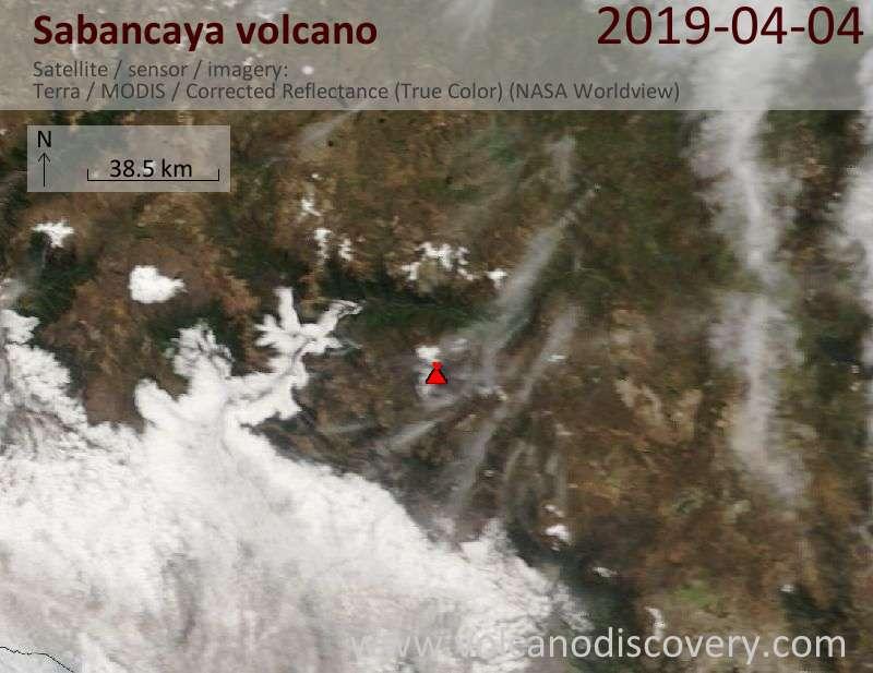 Satellite image of Sabancaya volcano on  4 Apr 2019