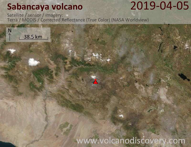 Satellite image of Sabancaya volcano on  5 Apr 2019