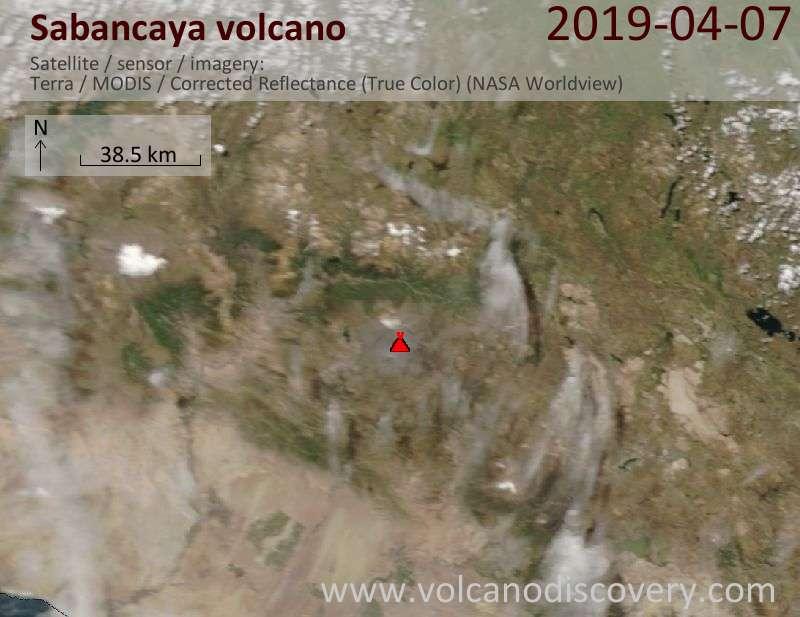 Satellite image of Sabancaya volcano on  7 Apr 2019