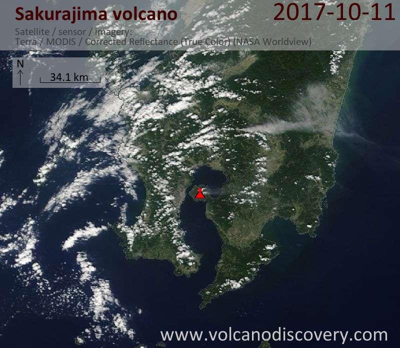Satellite image of Sakurajima volcano on 11 Oct 2017