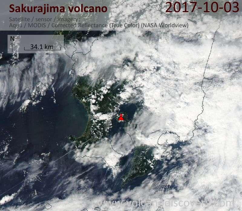 Satellite image of Sakurajima volcano on  3 Oct 2017