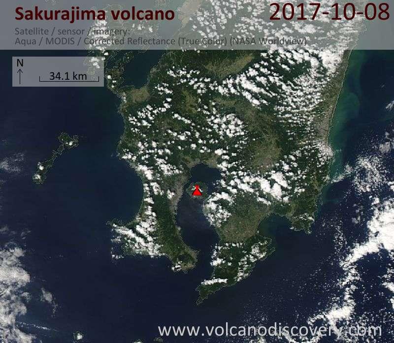 Satellite image of Sakurajima volcano on  8 Oct 2017