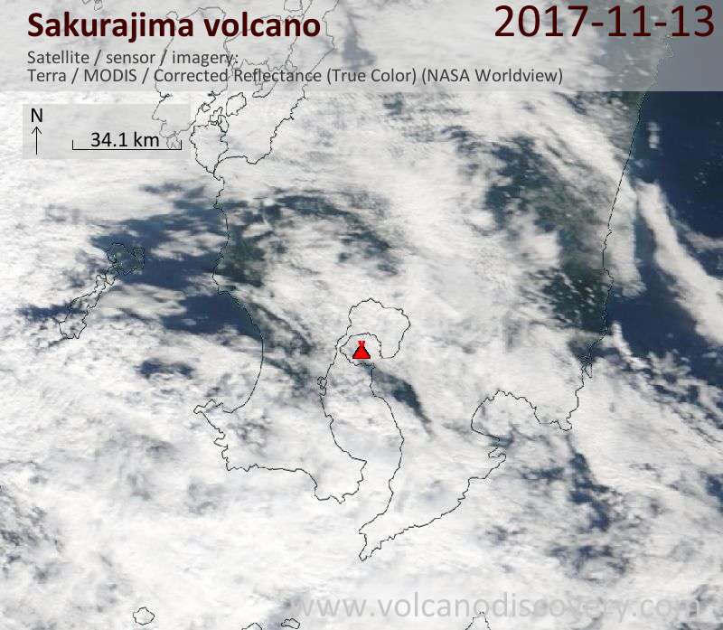 Satellite image of Sakurajima volcano on 13 Nov 2017