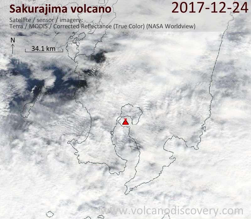 Satellite image of Sakurajima volcano on 24 Dec 2017