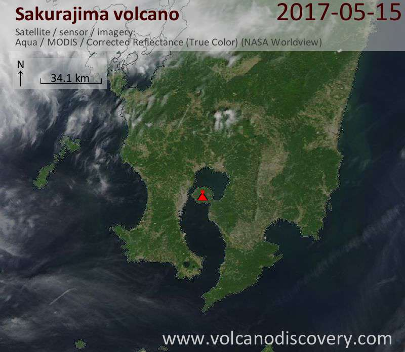 Satellite image of Sakurajima volcano on 15 May 2017