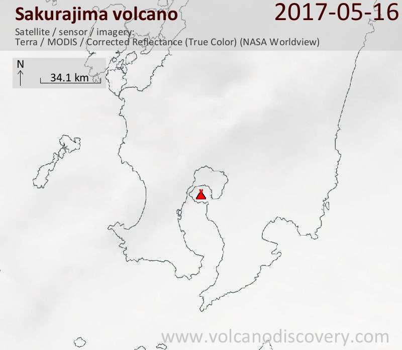 Satellite image of Sakurajima volcano on 16 May 2017