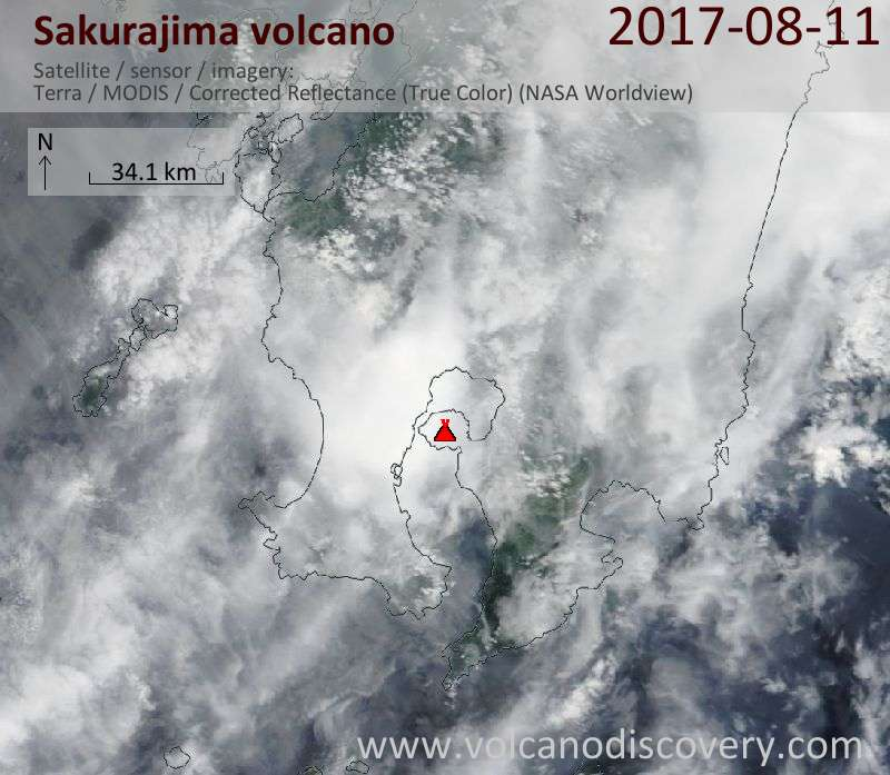 Satellite image of Sakurajima volcano on 11 Aug 2017