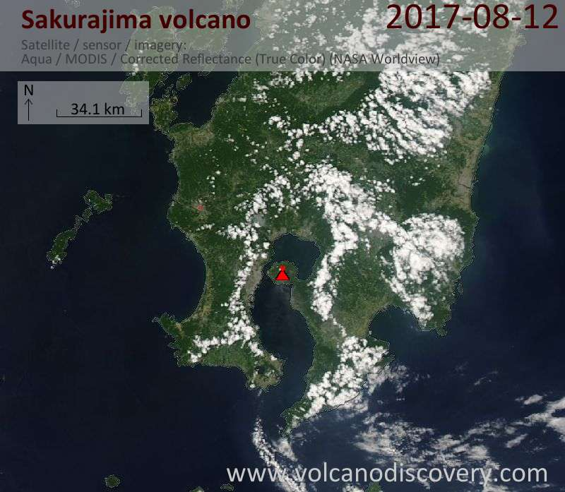 Satellite image of Sakurajima volcano on 12 Aug 2017