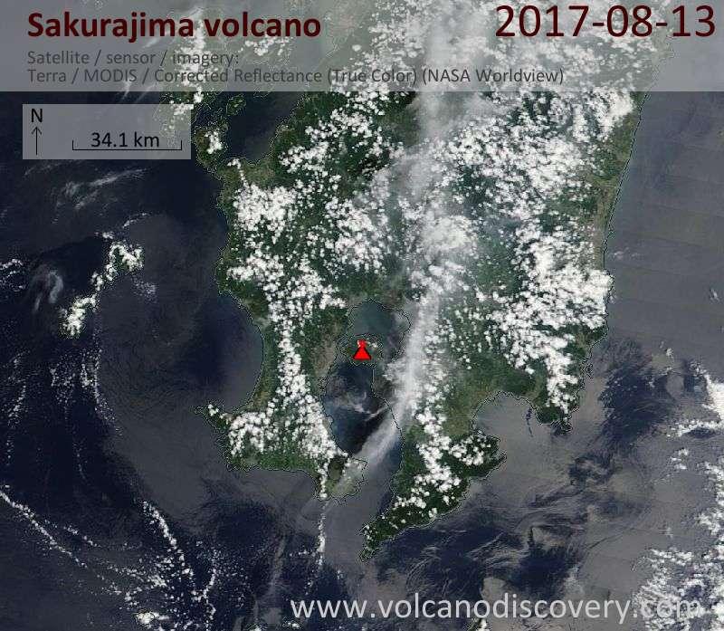Satellite image of Sakurajima volcano on 13 Aug 2017