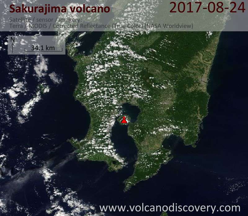 Satellite image of Sakurajima volcano on 24 Aug 2017