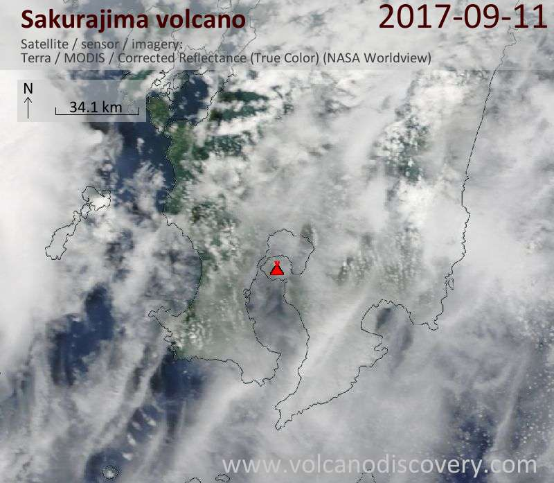 Satellite image of Sakurajima volcano on 11 Sep 2017
