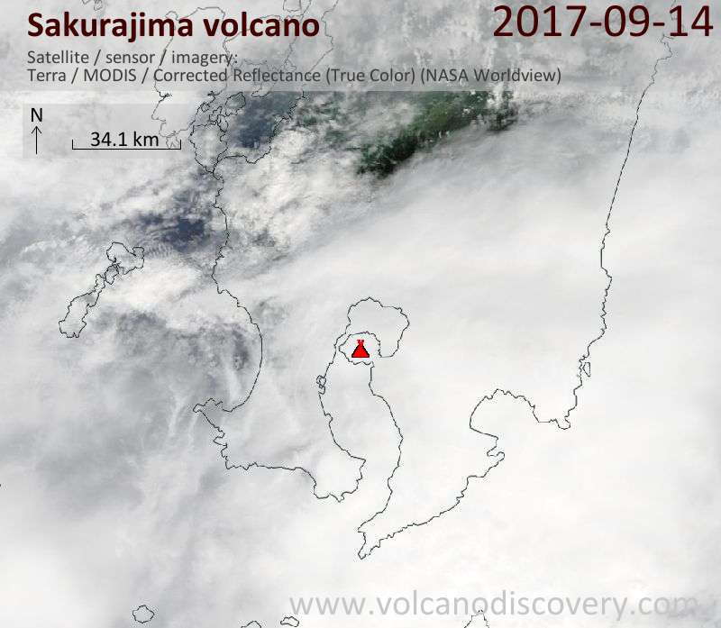 Satellite image of Sakurajima volcano on 14 Sep 2017