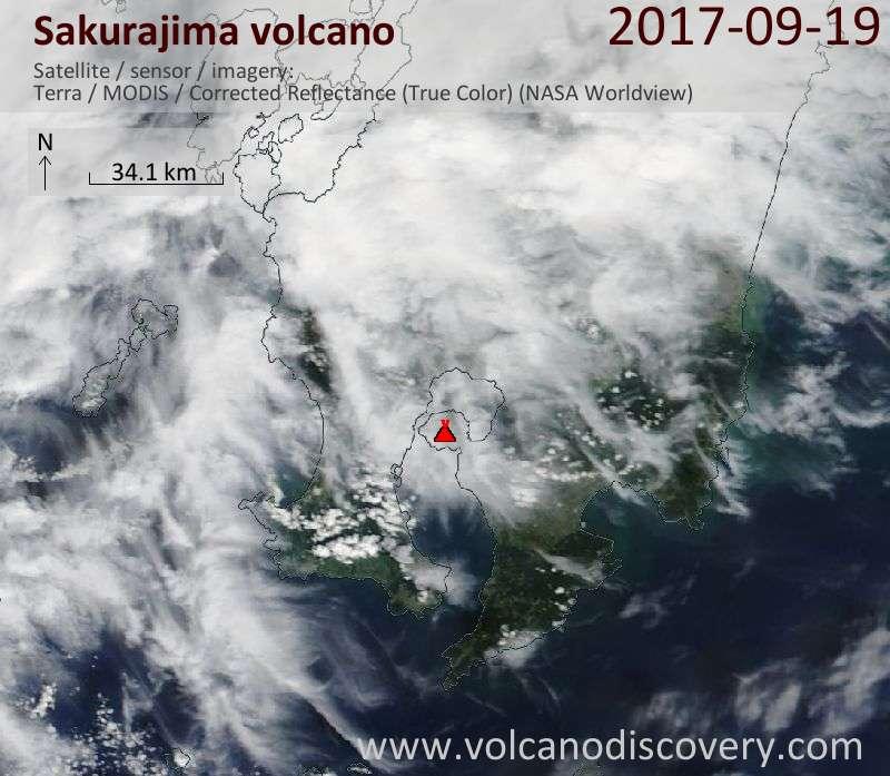 Satellite image of Sakurajima volcano on 19 Sep 2017