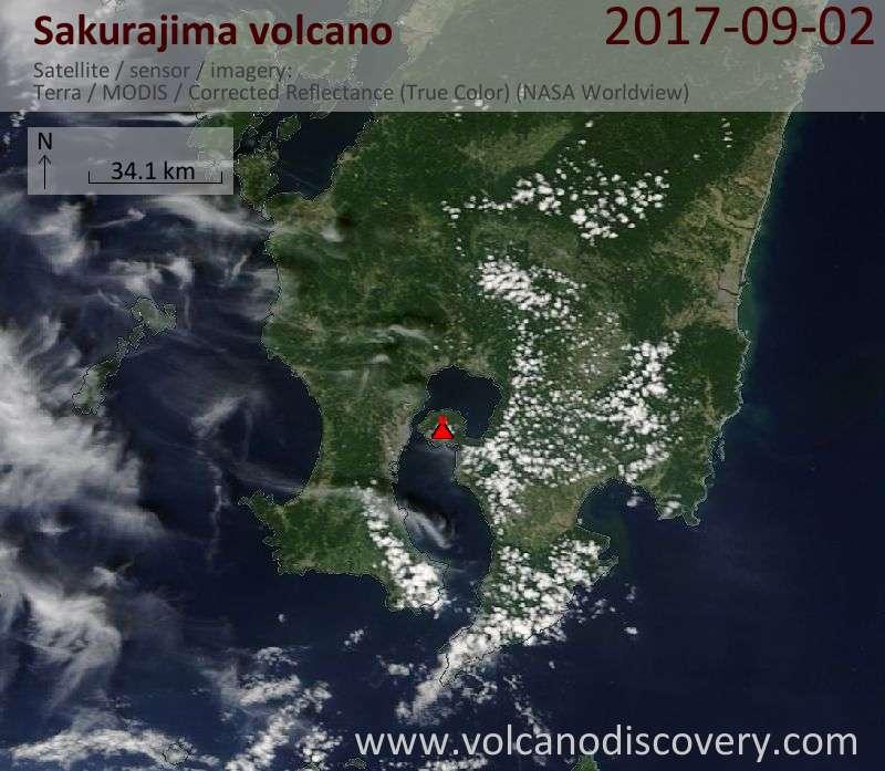 Satellite image of Sakurajima volcano on  2 Sep 2017
