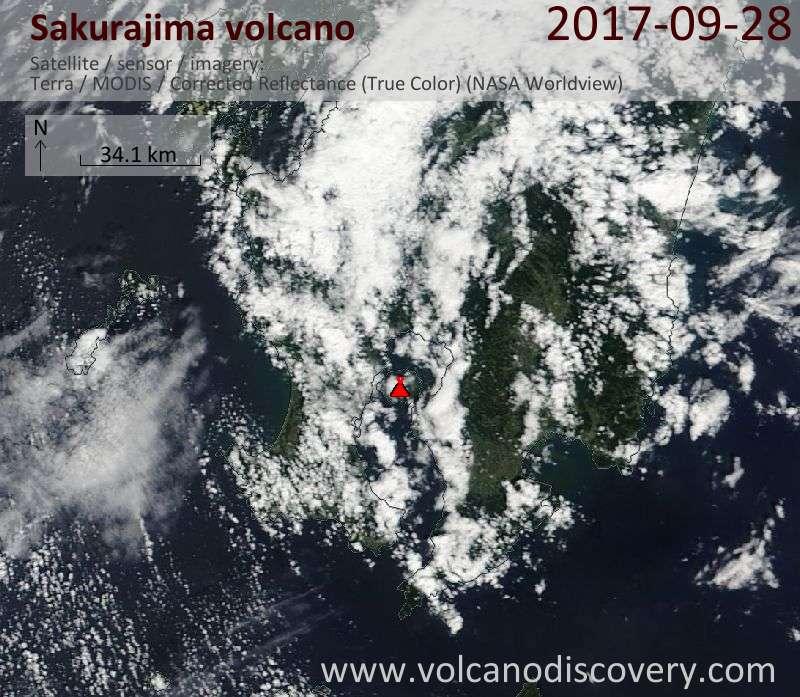 Satellite image of Sakurajima volcano on 28 Sep 2017