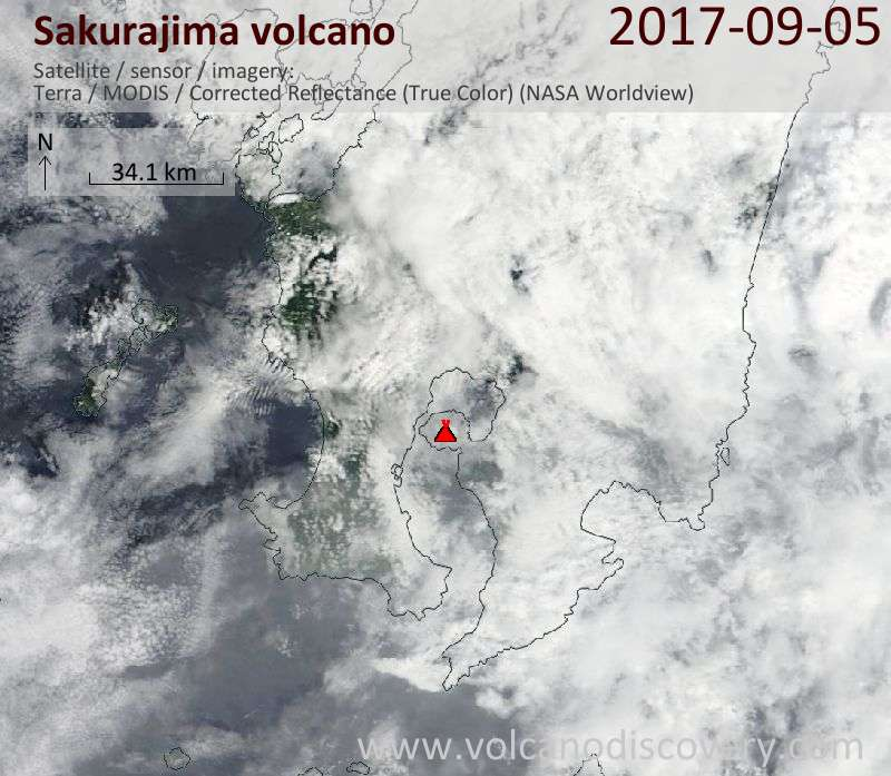 Satellite image of Sakurajima volcano on  5 Sep 2017