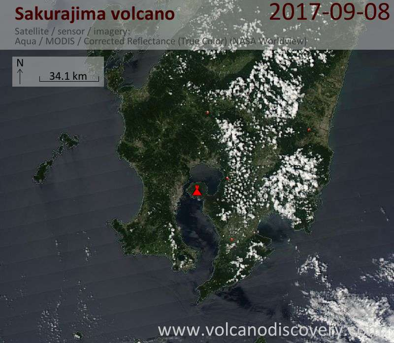 Satellite image of Sakurajima volcano on  8 Sep 2017
