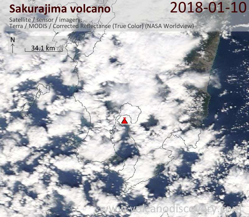 Satellite image of Sakurajima volcano on 10 Jan 2018