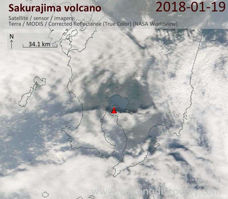 Satellite image of Sakurajima volcano on 19 Jan 2018