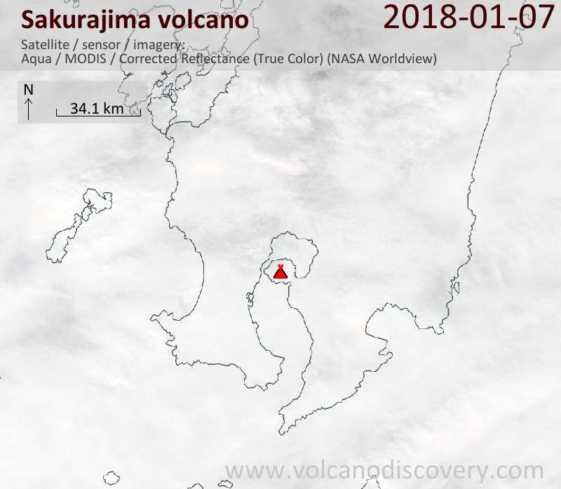 Satellite image of Sakurajima volcano on  7 Jan 2018