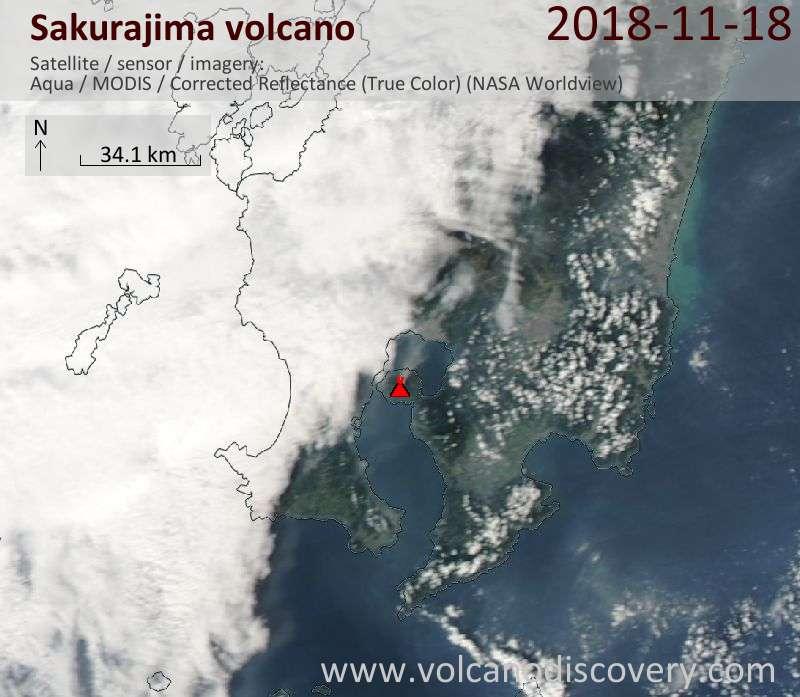 Satellite image of Sakurajima volcano on 19 Nov 2018