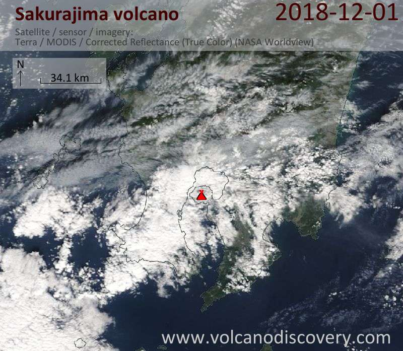 Satellite image of Sakurajima volcano on  1 Dec 2018