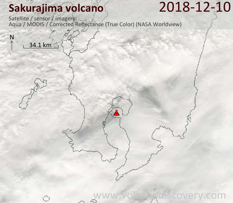 Satellite image of Sakurajima volcano on 10 Dec 2018