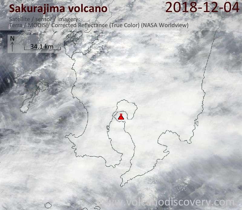 Satellite image of Sakurajima volcano on  4 Dec 2018