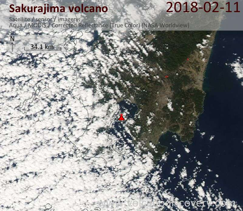 Satellite image of Sakurajima volcano on 11 Feb 2018