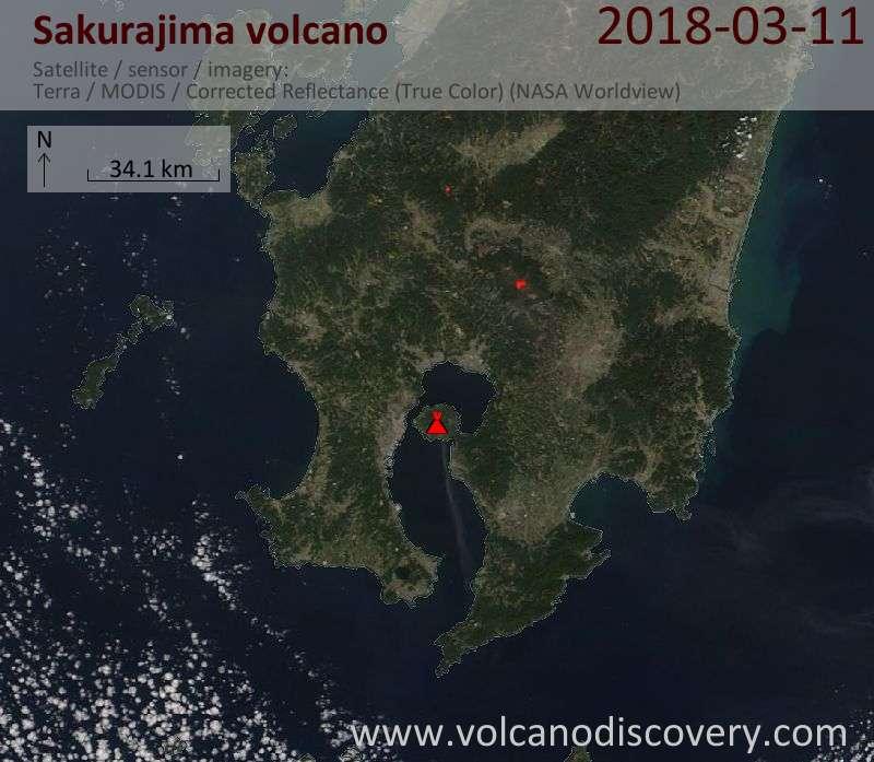 Satellite image of Sakurajima volcano on 11 Mar 2018