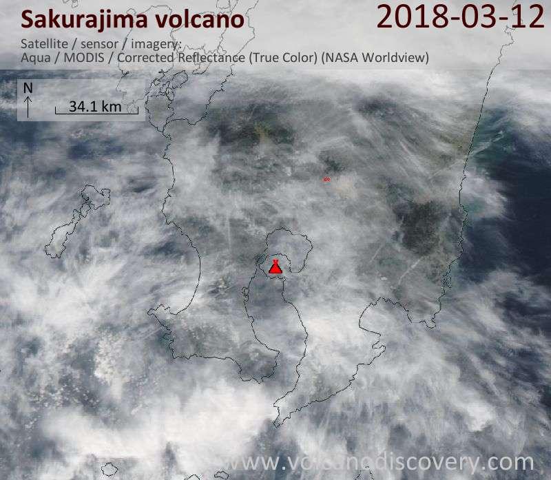 Satellite image of Sakurajima volcano on 12 Mar 2018