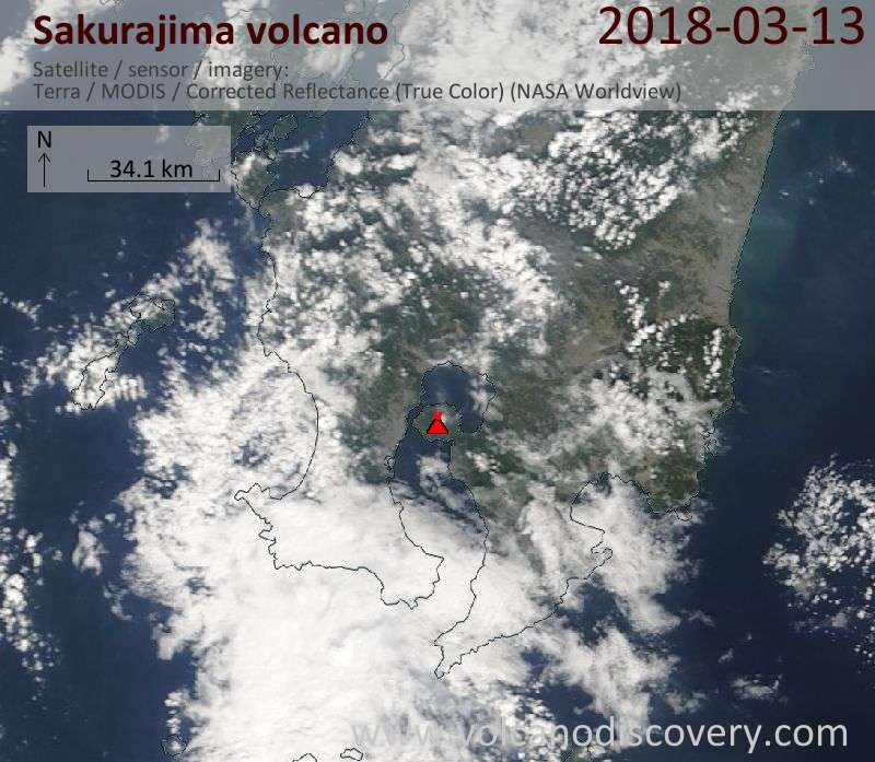Satellite image of Sakurajima volcano on 13 Mar 2018