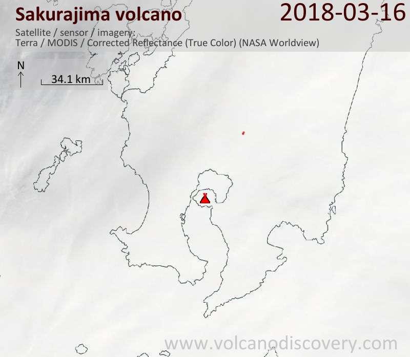 Satellite image of Sakurajima volcano on 16 Mar 2018