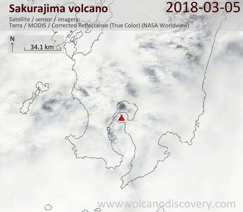 Satellite image of Sakurajima volcano on  5 Mar 2018