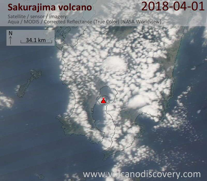 Satellite image of Sakurajima volcano on  1 Apr 2018