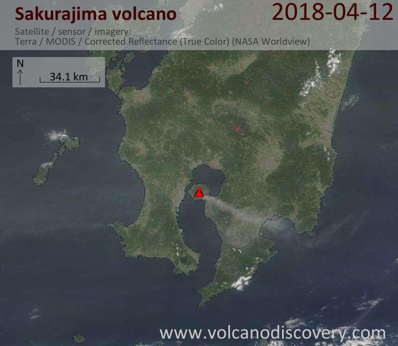 Satellite image of Sakurajima volcano on 13 Apr 2018